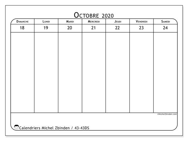 Calendrier 2020, 43-43DS. Calendrier imprimable gratuit.