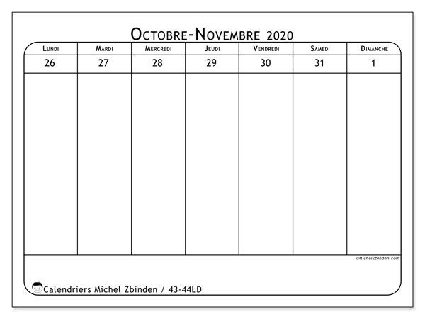 Calendrier 2020, 43-44LD. Planificateur à imprimer gratuit.