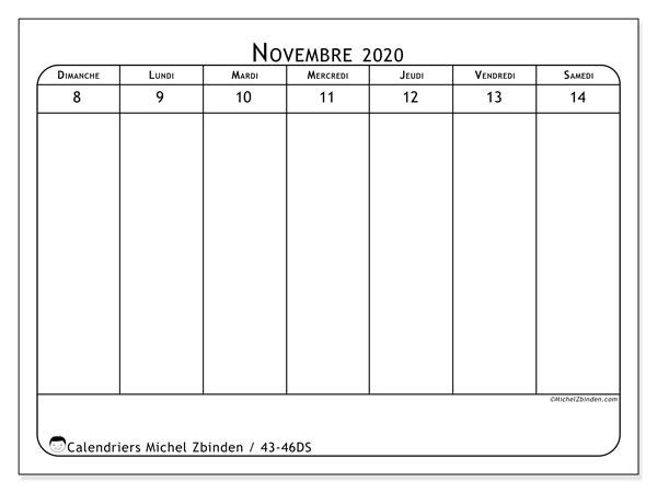 Calendrier 2020, 43-46DS. Planificateur à imprimer gratuit.