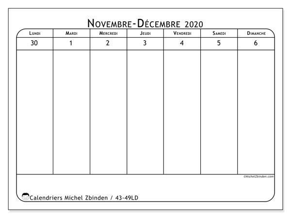 Calendrier 2020, 43-49LD. Organisateur à imprimer gratuit.