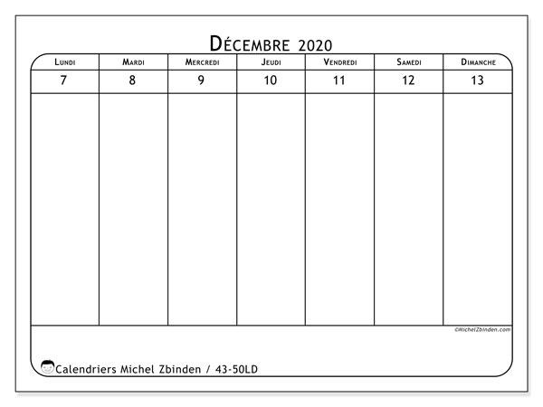 Calendrier 2020, 43-50LD. Calendrier pour la semaine à imprimer gratuit.