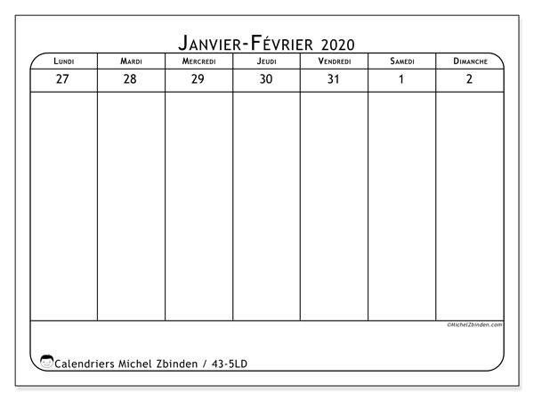 Calendrier 2020, 43-5LD. Calendrier à imprimer gratuit.