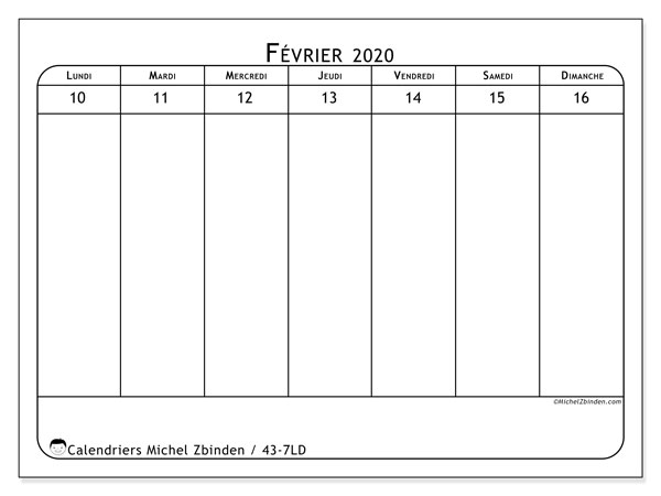 Calendrier 2020, 43-7LD. Calendrier imprimable gratuit.