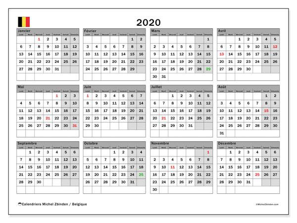 Calendrier 2020, avec les jours fériés de la Belgique. Planificateur à imprimer gratuit.