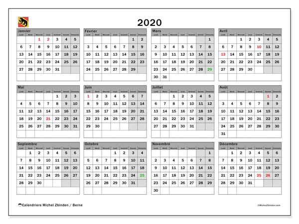 Calendrier 2020, avec les jours fériés du Canton de Berne. Calendrier Fêtes et jours fériés à imprimer gratuit.