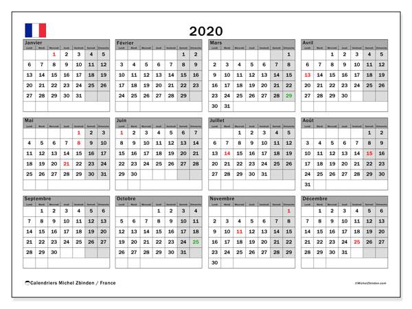 Calendrier 2020, avec les jours fériés de la France. Calendrier mensuel à imprimer gratuit.