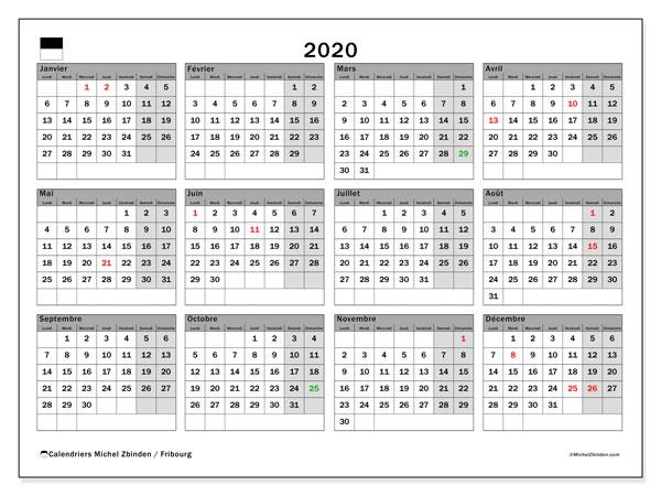 Calendrier 2020, avec les jours fériés du Canton de Fribourg. Calendrier Fêtes et jours fériés à imprimer gratuit.