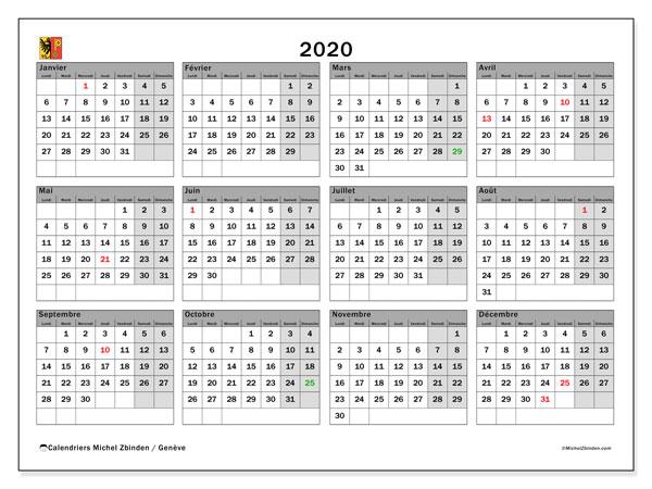 Calendrier 2020 Et 2021 Vacances Scolaires.Calendrier 2020 Canton De Geneve Michel Zbinden Fr