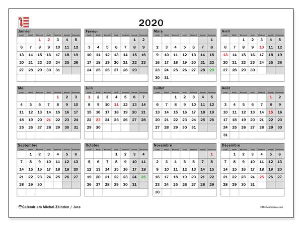 Calendrier 2020, avec les jours fériés du Canton du Jura. Calendrier Fêtes et jours fériés à imprimer gratuit.