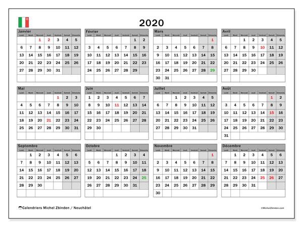Calendrier 2020 Avec Jour Ferie.Calendrier 2020 Canton De Neuchatel Michel Zbinden Fr