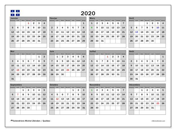 Calendrier 2020, Québec (Canada) - Michel Zbinden FR