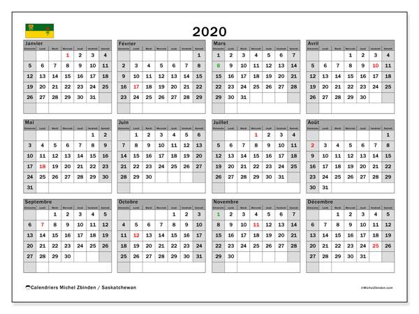 Calendrier 2020 Semaine Numerotees.Calendrier 2020 Saskatchewan Canada Michel Zbinden Fr