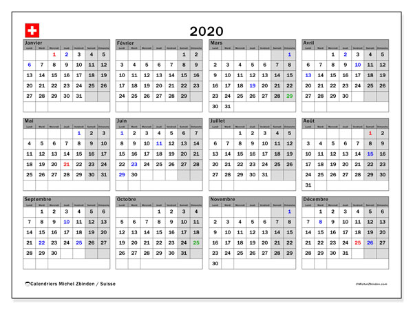 Calendriers annuels 2020