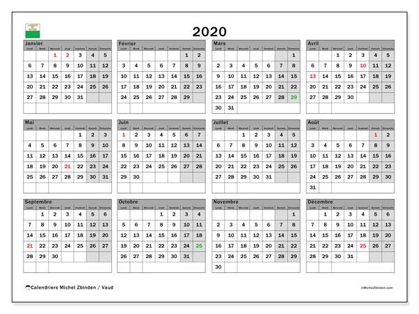 Calendrier 2020, avec les jours fériés du Canton de Vaud. Calendrier Fêtes et jours fériés à imprimer gratuit.