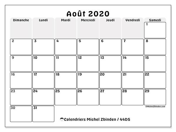 Calendrier août 2020, 44DS. Calendrier pour le mois à imprimer gratuit.