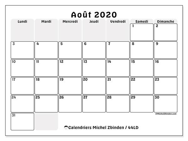 Calendrier août 2020, 44LD. Calendrier pour le mois à imprimer gratuit.