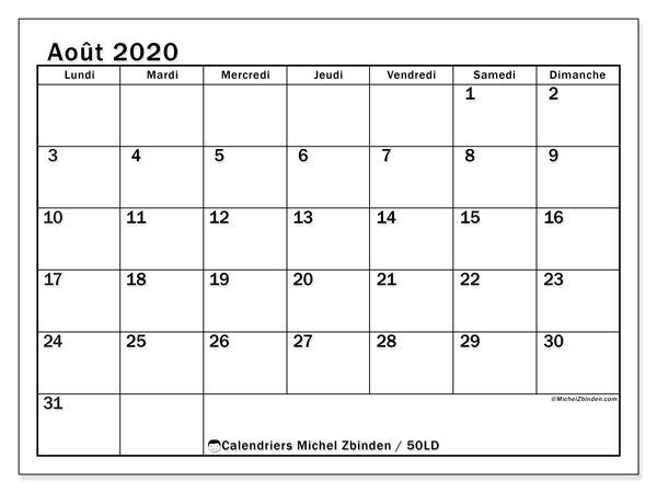 Calendrier août 2020, 50LD. Calendrier pour le mois à imprimer gratuit.