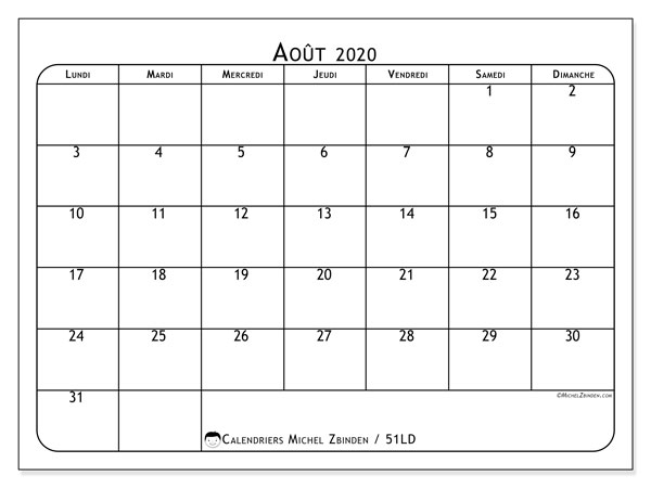 Calendrier août 2020, 51LD. Calendrier gratuit à imprimer.