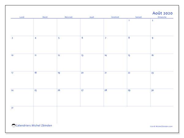 Calendrier août 2020, 55LD. Calendrier mensuel à imprimer gratuit.