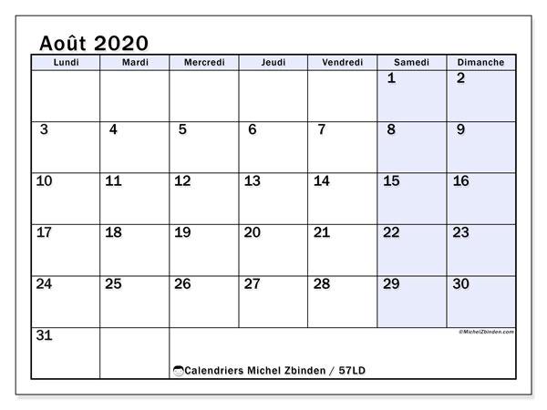 Calendrier août 2020, 57LD. Calendrier imprimable gratuit.