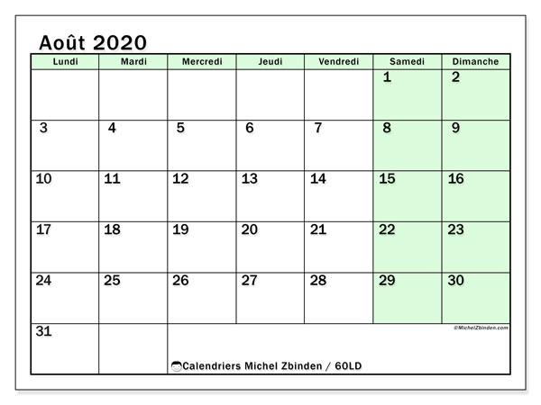 Calendrier août 2020, 60LD. Calendrier gratuit à imprimer.