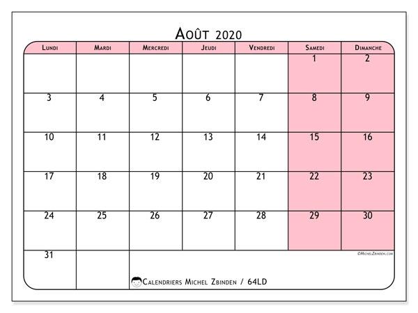 Calendrier août 2020, 64LD. Calendrier mensuel à imprimer gratuit.