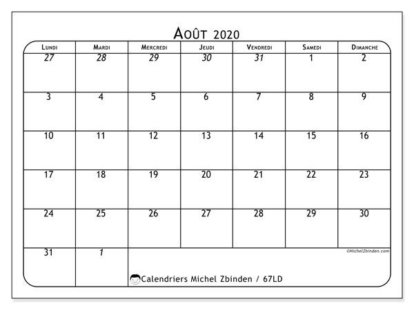 Calendrier août 2020, 67LD. Calendrier à imprimer gratuit.