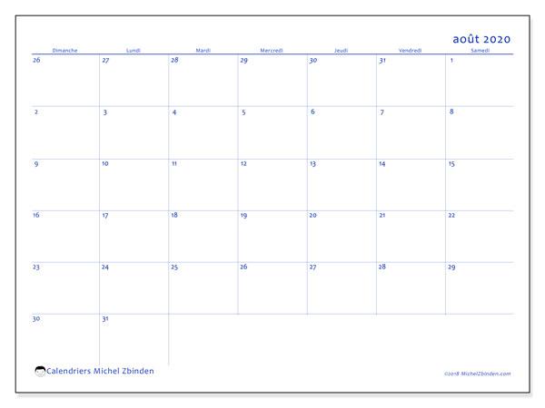 Calendrier août 2020, 73DS. Calendrier pour le mois à imprimer gratuit.