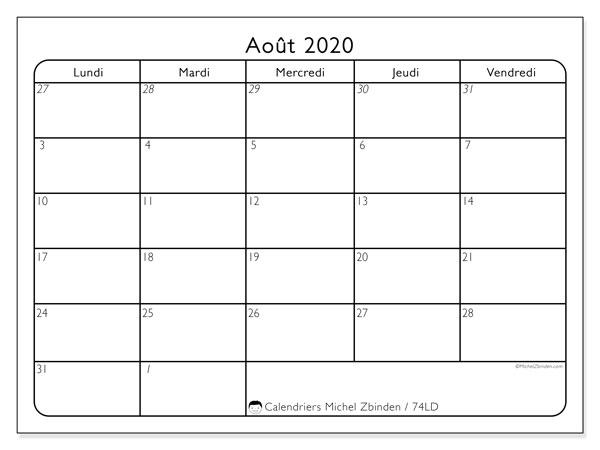 Calendrier août 2020, 74LD. Calendrier à imprimer gratuit.