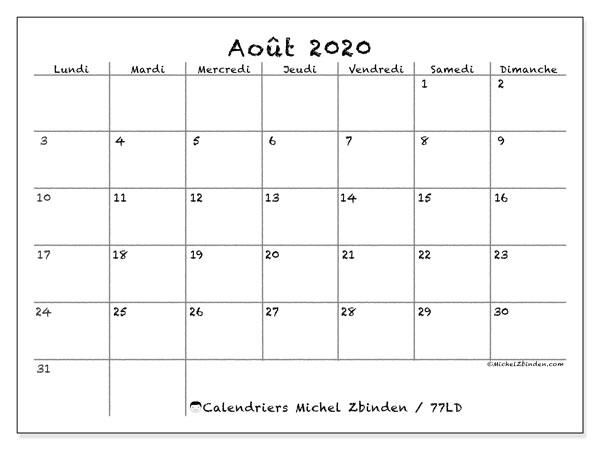 Calendrier août 2020, 77LD. Calendrier à imprimer gratuit.