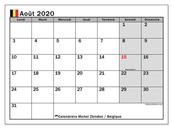Calendrier août 2020, avec les jours fériés de la Belgique. Calendrier pour le mois à imprimer gratuit.
