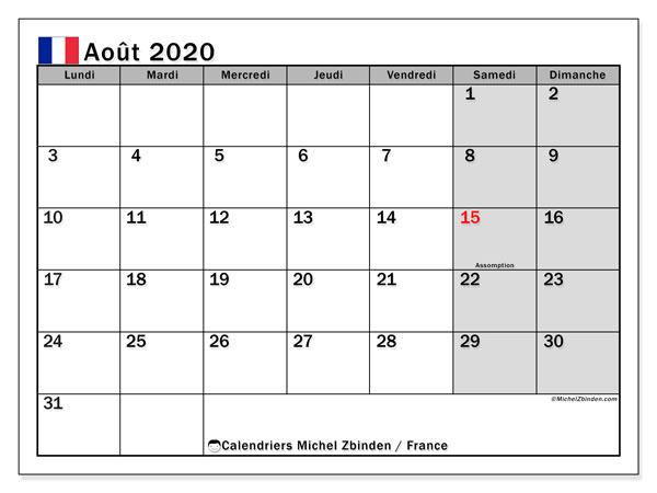 Calendrier août 2020, avec les jours fériés de la France. Calendrier pour le mois à imprimer gratuit.
