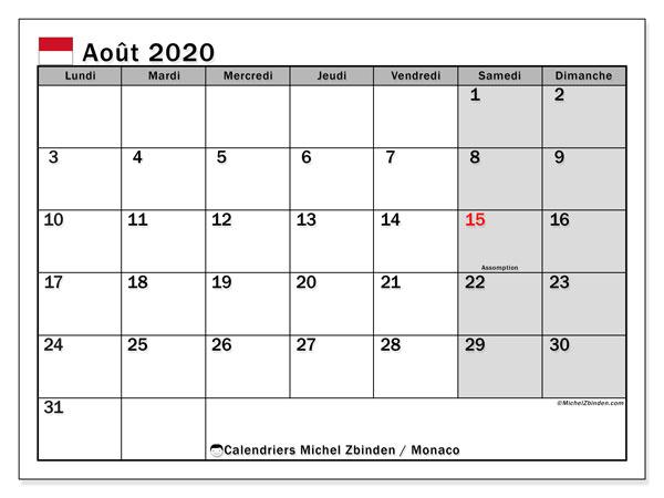 Calendrier août 2020, avec les jours fériés de Monaco. Calendrier à imprimer gratuit avec jours fériés.