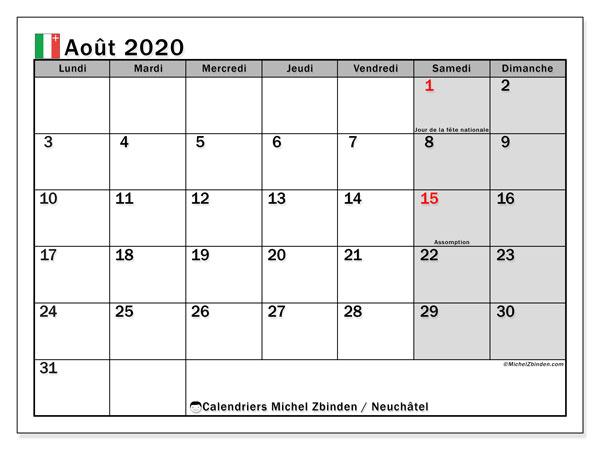 Calendrier août 2020, avec les jours fériés du Canton de Neuchâtel. Calendrier à imprimer gratuit avec jours fériés.