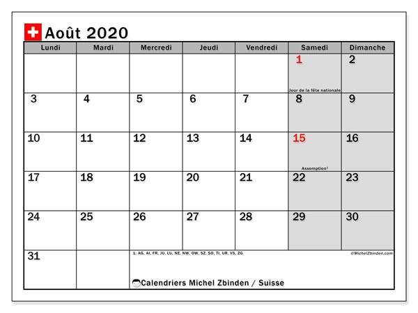 Calendrier août 2020, avec les jours fériés de la Suisse. Calendrier Fêtes et jours fériés à imprimer gratuit.