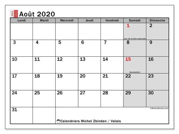 Calendrier août 2020, avec les jours fériés du Canton du Valais. Calendrier à imprimer gratuit avec jours fériés.