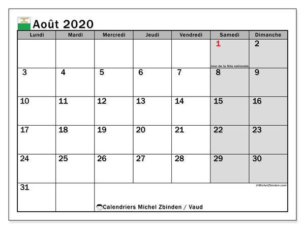 Calendrier août 2020, avec les jours fériés du Canton de Vaud. Calendrier Fêtes et jours fériés à imprimer gratuit.