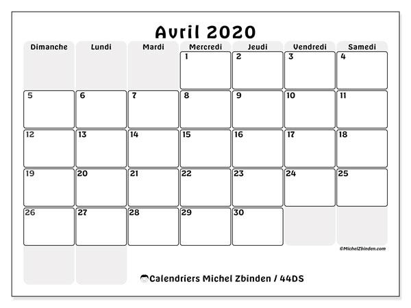 Calendrier Avril 2020 à Imprimer.Calendriers Avril 2020 Ds Michel Zbinden Fr