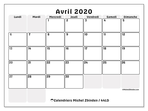 Calendriers avril 2020, 44