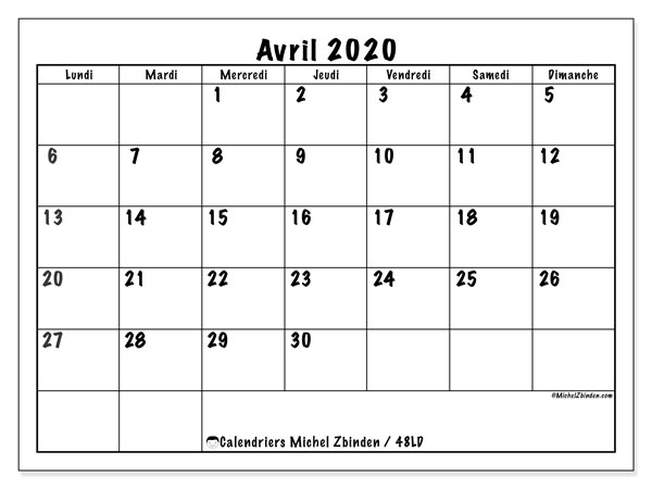 Calendriers avril 2020 (LD).  48LD.
