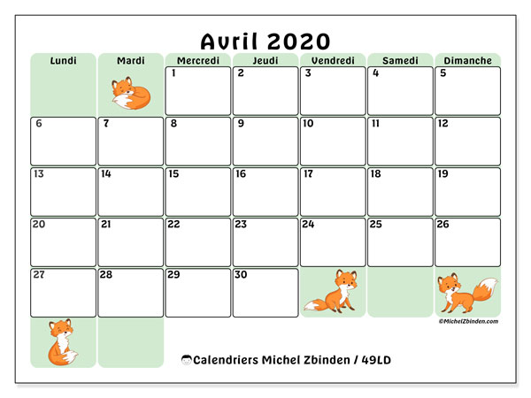 Calendriers avril 2020 (LD).  49LD.