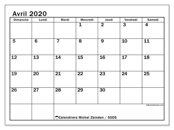 Calendrier avril 2020, 50DS. Calendrier pour le mois à imprimer gratuit.
