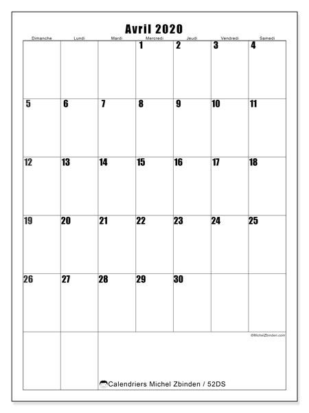 Calendrier avril 2020, 52DS. Calendrier pour le mois à imprimer gratuit.