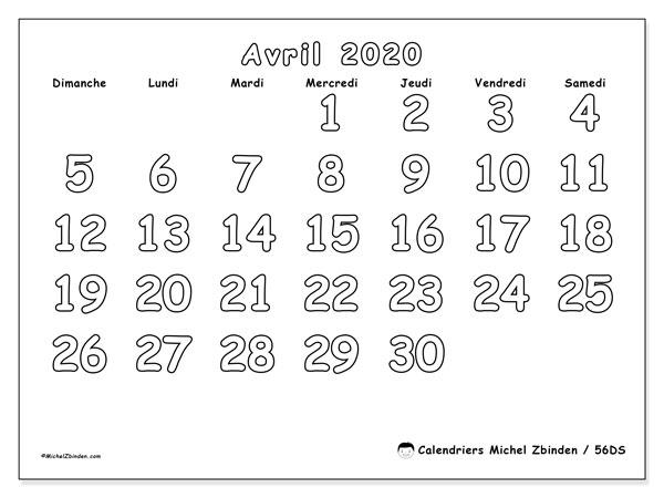 Calendrier avril 2020, 56DS. Planificateur à imprimer gratuit.