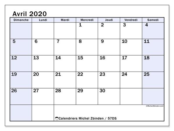 Calendrier avril 2020, 57DS. Calendrier mensuel à imprimer gratuit.