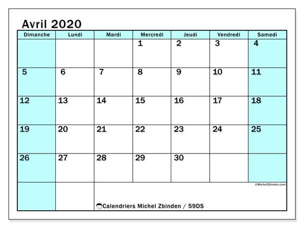 Calendrier avril 2020, 59DS. Calendrier pour le mois à imprimer gratuit.