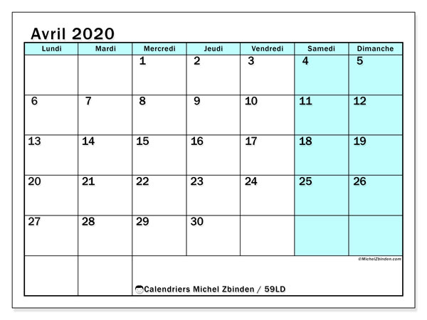 Calendriers avril 2020 (LD).  59LD.