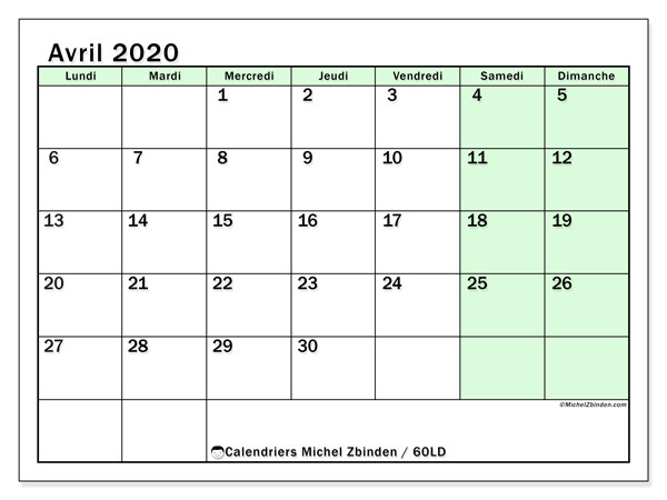 Calendrier avril 2020, 60LD. Planificateur à imprimer gratuit.