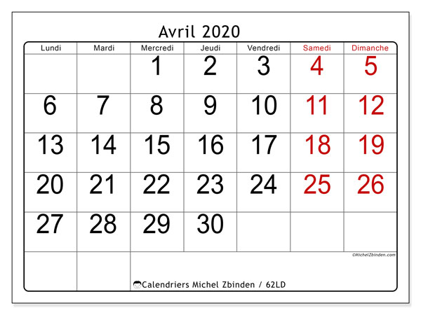 Calendriers avril 2020 (LD).  62LD.