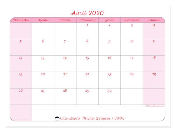 Calendrier avril 2020, 63DS. Planificateur à imprimer gratuit.